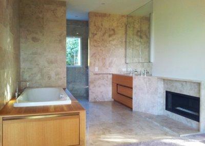 eastbourne home main bathroom with fireplace