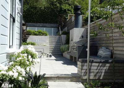 Tinakori Home patio and garden after